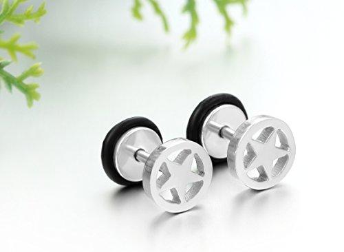 JewelryWe Paire Boucles d'oreilles Homme Creux Rond Cercle ¨¦toile Star Cinq Branche Clous d'oreille Acier Inoxydable Argente