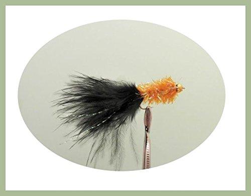Lot de 12Goldhead Orange Noir Tail Fritz-Leurres Pêche mouches. Taille 10
