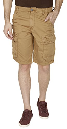 T-base Men's Overdyed Cotton Satin Cargo Shorts