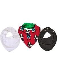 Maxomorra / Pippi * 3er Kombi-Set Jungen Baby Halstücher Dreieckstücher 3 Stück * weiß schwarz rot KLEINER PIRAT Organic Cotton