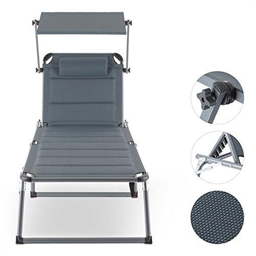 Blumfeldt set 2 x amalfi noble grey • lettino da giardino • lettino prendisole • sdraio • ergonomico • schienale regolabile • struttura in acciaio • parasole • facile da pulire • impermabile • grigio