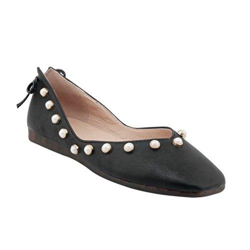 YOUJIA Femmes Plate Escarpins Bout Fermé Perlée Slip On Chaussures en PU Cuir Mocassins DÉté Noir