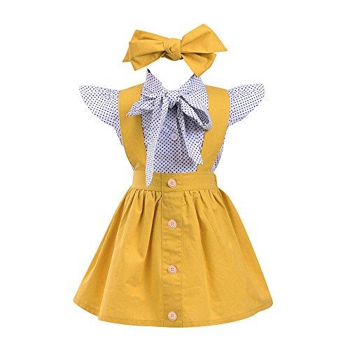 3 Stücke Kleinkind Baby Mädchen Dot Print Tops T-Shirt Strap Rock Outfits Set britischen Stil Damen mit Polka bedrucktes kurzärmeliges Hemd mit Riemen + dreiteiligem Haarband (Gelb, 73) -