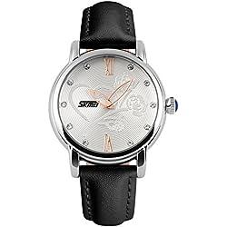 XLORDX Damen Armbanduhr Armreif Kette Roman Kristall Quarzuhr Uhr Vintage Elegant Schwarz Leder