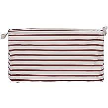 GreenForest Cotton Linen Fabric Round Storage Basket 13.78*17.72 Inch, Pink