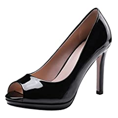 2979bea7ba87 Atyche Womens High Heels Peep Toe Court Shoes Patent Leather .