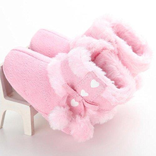 Lauflernschuhe,Amcool Weiche Sohle Luxus Schön Kaninchen Säugling Junge Mädchen Winter Prewalker Krippe Schuhe (Alter:6-9 Monate, Weiß) Rosa