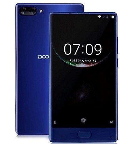 DOOGEE MIX - 5,5 Zoll AMOLED Bildschirm Blende-weniger Android 7.0 4G Smartphone, Helio P25 Octa Core 2.5GHz 4GB RAM + 64GB ROM, 5MP Front Kamera + Dual Heckkamera (8MP + 16MP) - Blau