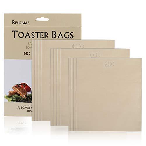 Gwhole Lot de 12 Sacs Grille-Pain Micro-Ondes Four Sacs Toast Sandwich Snack Réutilisables Anti-adhésifs