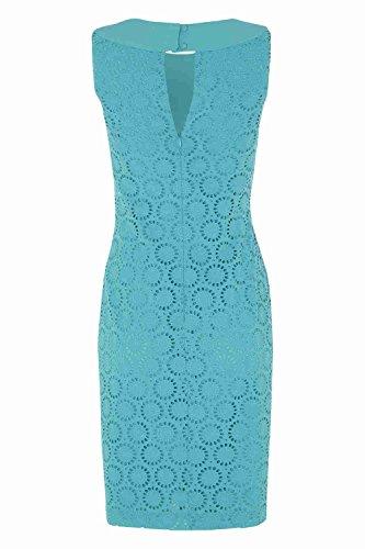 Roman Originals - Robe Patineuse en Coton Dentelle Col Perles Confortable Lumineux Vacances d'Été - Tailles 38-50 - Turquoise Bleu