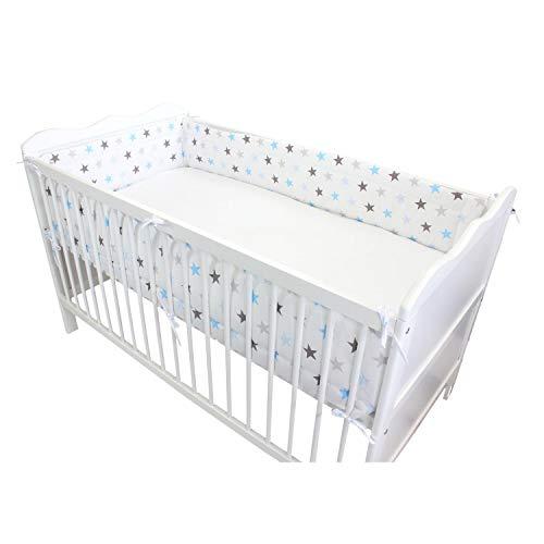 TupTam Baby Nestchen für Babybett Gemustert, Farbe: Sterne Blau, Größe: 420x30cm (für Babybett 140x70)