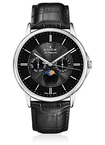 Edox Orologio da polso da uomo Les Bémonts Moon Phase Complication, datario, giorno della settimana, fasi lunari, analogico, al quarzo, 40002 3 NIN