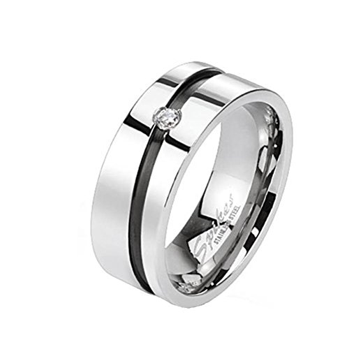 beyoutifulthings DIAGONALE-LINIE Schwarz ZIRKONIA clear Band-Ring Chirurgenstahl 316L Verlobungs-Ring Partner-Ring Trau-Ring Silber 60(19.1) -
