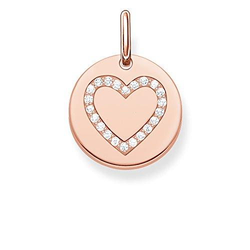 Thomas Sabo Damen-Anhänger Love Bridge Herz 925 Sterling Silber 750 rosegold vergoldet Zirkonia weiß 1.4 cm LBPE0005-416-14