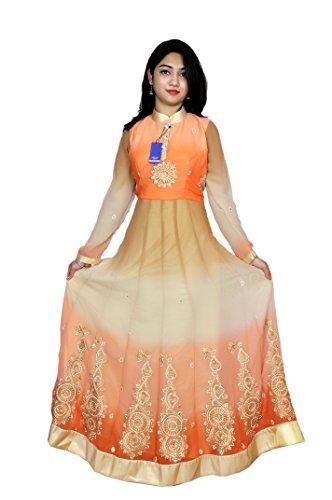 Aptt Women's Polyester Dress Material (APTT01_Free Size_ORENGE)