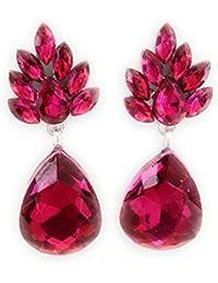 6596066b381e Pendientes Largos Cristal de Color Mujer con Forma de Lágrima y Dorso  Plateado. Pendientes Elegantes