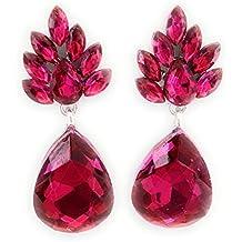 9b1ae9e17b5b Pendientes Largos Cristal de Color Mujer con Forma de Lágrima y Dorso  Plateado. Pendientes Elegantes