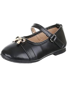Kinder Schuhe, H1102, BALLERINAS MIT DEKO VERZIERTE