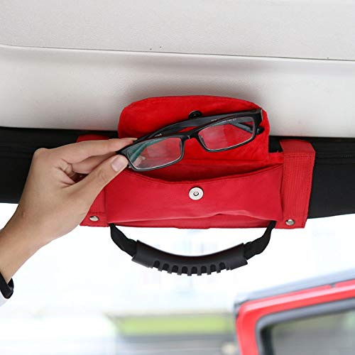 Bosmutus [1PC Roll Bar Grab Handles Grip (Handle for 1987-2018 Jeep Wrangler YJ TJ JK JKU, Jeep Sport Jeep Wrangler Unlimited, Sahara, Rubicon) Handle Bag, Wrangler Grab Handles (red) - Wrangler Jeep Unlimited Sport