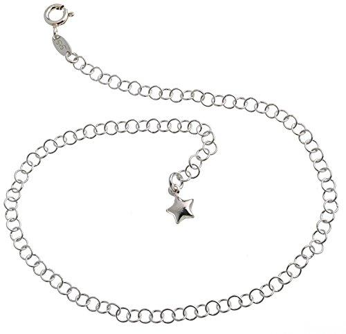 Fußkette Silber (Erbskette) mit Sternanhänger - 3,5mm Breite - Länge wählbar 23-30cm - echt 925 Silber