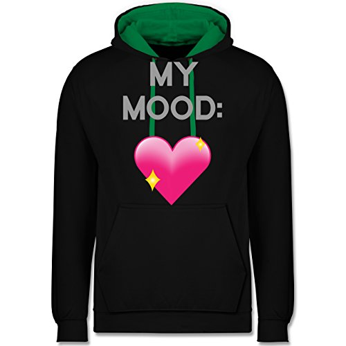 Statement Shirts - My Mood: Glitzerherz - Kontrast Hoodie Schwarz/Grün