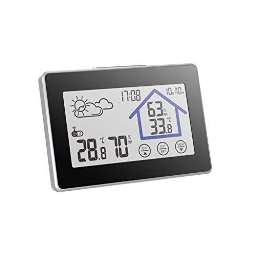 Drahtlose Wetterstation Digital Thermometer Hygrometer Mit Sensor Sensor Touch Button Zeit Datum Home Schlafzimmer Büro (Color : Black, Größe : 14 * 2 * 9.5cm)