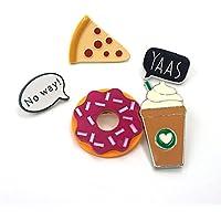 Hacoly 5 Brooch Pin Damen Hemd Niedlich Donuts, Kaffee, Pizza Brosche Schmuck Acryl Anstecknadel Dekoration für Boutique Mantel Besetzt Schals, Tücher Oder Ponchos, Zubehör - Bunt