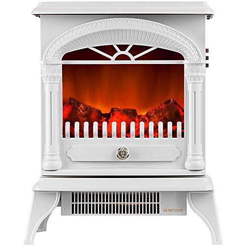 Elektrischer Kamin mit heizung Elektro Kamin Elektrokamin realistischer Flammeneffek Kaminofen 950 W und 1900 W Heizleistung & LED-Beleuchtung Weiß