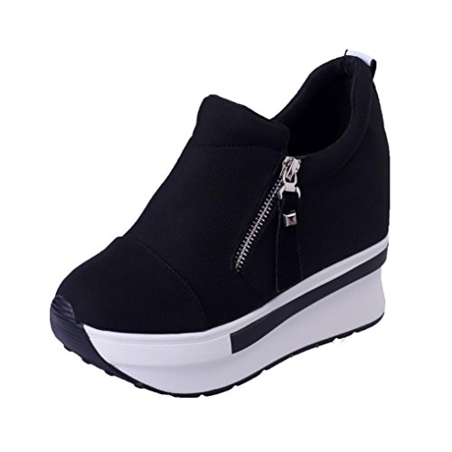XINANTIME - Cuñas mujer botas zapatos de plataforma Zapatillas de deporte con resbalón en los tobillos (EU:36, Negro)