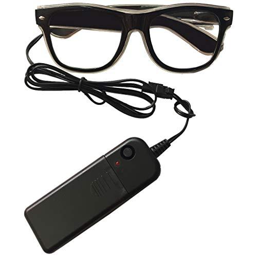 F Fityle EL LED Brille Leuchtende Brille Blinkende Brille Atzenbrille mit Batteriebetrieben für Fotografie und Aufführung Requisiten - ()