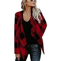 RONDAA Las señoras de Moda del Ocio Cubren el Abrigo a Cuadros del Tweed de la Solapa para el otoño y el Invierno de la Primavera