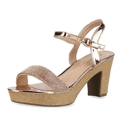 mps Plateau Sandaletten Blockabsatz High Heels Glitzer Party Schuhe Lack Metallic Absatzschuhe Strass 175178 Rose Gold 37 ()
