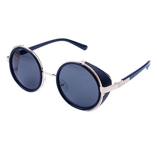 WooCo Reise Sonnenbrillen für Herren Damen, Runde Mode Vintage Retro Brille, Förderung Unisex Aviator Spiegel Objektiv Sonnenbrille(F,One size)