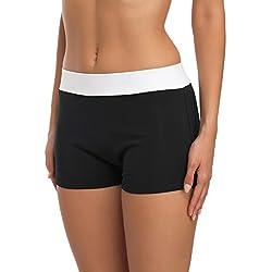 Merry Style Costume a Pantaloncino Nuoto Donna S1R1 (Nero/Bianco, EU 34 (IT 40))