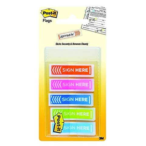 Post-it Message Flags, Sign Here, Assorted Colors, 1/2-Inch Wide, 20/Dispenser,
