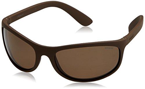 Polaroid sport p7334 ig, occhiali da sole unisex-adulto, dkbrwn solid, 63