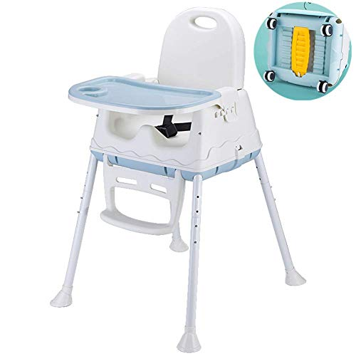 LBLA 3-in-1 Baby Feeding Portable High Chair, Toddler Booster Seat with Tray (Blue)