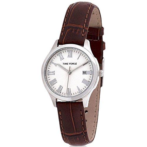 TIME FORCE TF3305L05 - Reloj Analógico Para Mujer, color Blanco/Marrón