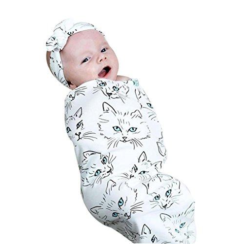 Kind Baby Blumen Drucken Sleeping Swaddle Blanket Schlafen Musselin Wrap Stirnband Set Erstlingsdecke Babydecke Kuscheldecke Strickdecke Sommerdecke,0-12 Monate (Weiß) (Swaddle Outfit)
