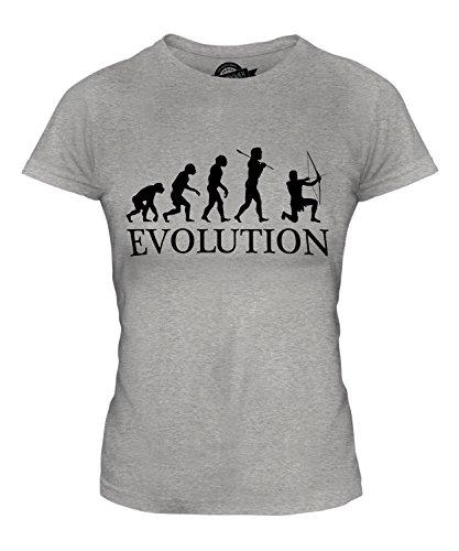 CandyMix Bogenschießen Bogenschütze Evolution Des Menschen Damen T Shirt, Größe Large, Farbe Grau Meliert