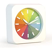 Foxtop Classic Pequeño arco iris redondo reloj de Escritorio Silencioso, Reloj Despertador, Reloj de Mesa (Blanco)
