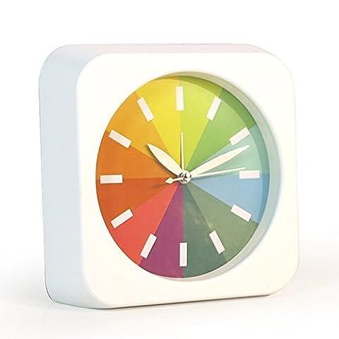 Foxtop Classique 7 Pouces Multi-couleurs Rainbow Petit Carré Silencieux Table Snooze Horloge Bureau Pour Enfants (blanc)
