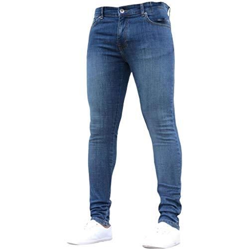 STRIR Pantalones Vaqueros Hombres Pitillo Slim Fit Skinny Pantalones Casuales Elasticos Agujero Pantalón Personalidad Jeans Pantalones de Trabajo de Hip Hop de Mezclilla (S, Azul Oscuro)