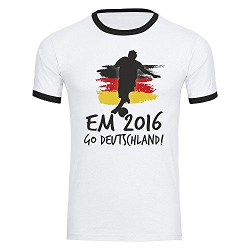T-Shirt Go Deutschland EM 2016 Frankreich Herren weiß / schwarz Gr. S - 2XL France Germany Deutschland, Größe:M