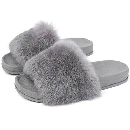Pantofola donna ,feixiang® donna piatta antiscivolo morbido soffice pelliccia finta pantofola flip flop sandalo(gomma) (37, grigio)