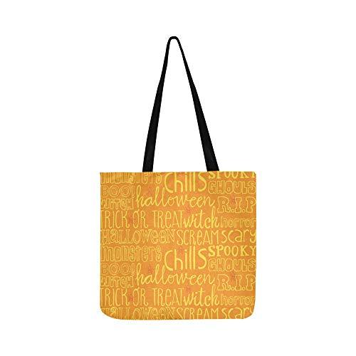 Halloween Wörter Symbole Leinwand Tote Handtasche Schultertasche Crossbody Taschen Geldbörsen Für Männer Und Frauen Einkaufstasche
