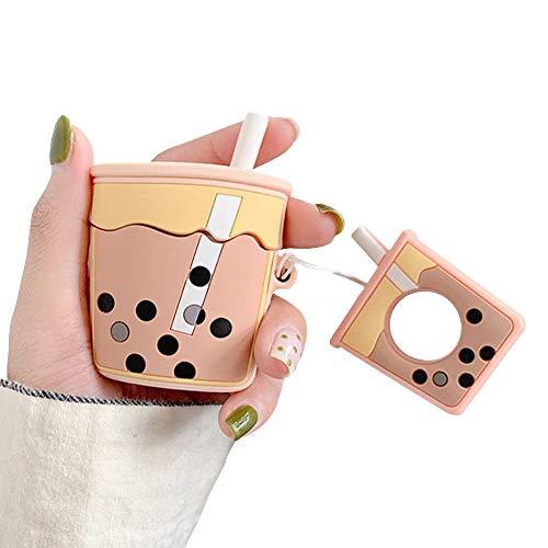 Skoveph Super Cute Bubble Tea Airpods Schutzhülle 3D Cartoon Soft Silikon Protective Mini Bag Cute Creative Airpods 1 & 2 Stand Cover with Finger Loop Milktea Yellow -