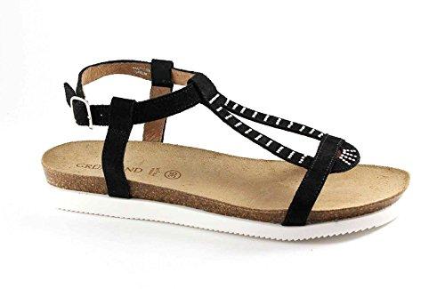 GRUNLAND JEGU SB0685 nero sandalo donna strass fibbia Nero