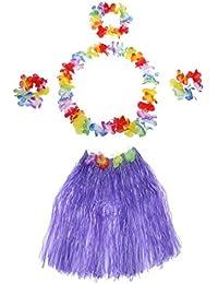 TOOGOO(R) 5Pcs New Hawaii Hula Skirt Set Handmade Grass Skirts Purple