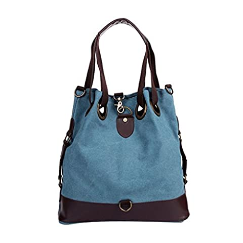 Liying Neu Umhängetasche Handtasche Rucksack Retro Canvas Damen Trage Tasche Einkauftasche Schultasche Beuteltote Blau